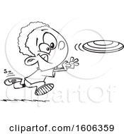 Cartoon Lineart Black Boy Chasing A Frisbee