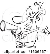 Clipart Of A Cartoon Black And White Enthusiastic Business Man Marketing With A Megaphone Royalty Free Vector Illustration