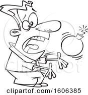 Cartoon Lineart Man Catching A Bomb