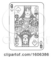 Clipart Of A Black And White Queen Of Spades Playing Card Royalty Free Vector Illustration by AtStockIllustration