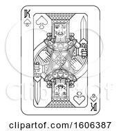 Clipart Of A Black And White King Of Spades Playing Card Royalty Free Vector Illustration by AtStockIllustration