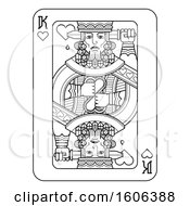 Clipart Of A Black And White King Of Hearts Playing Card Royalty Free Vector Illustration by AtStockIllustration