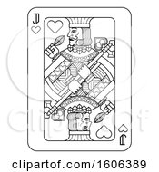 Clipart Of A Black And White Jack Of Hearts Playing Card Royalty Free Vector Illustration by AtStockIllustration
