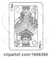 Clipart Of A Black And White Jack Of Diamonds Playing Card Royalty Free Vector Illustration