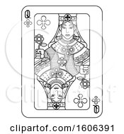 Clipart Of A Black And White Queen Of Clubs Playing Card Royalty Free Vector Illustration by AtStockIllustration