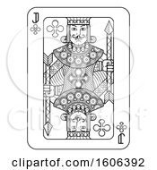 Clipart Of A Black And White Jack Of Clubs Playing Card Royalty Free Vector Illustration