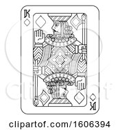 Clipart Of A Black And White King Of Diamonds Playing Card Royalty Free Vector Illustration by AtStockIllustration