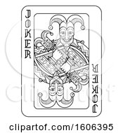 Clipart Of A Black And White Joker Playing Card Royalty Free Vector Illustration by AtStockIllustration