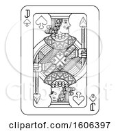 Clipart Of A Black And White Jack Of Spades Playing Card Royalty Free Vector Illustration by AtStockIllustration