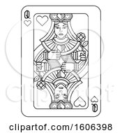 Clipart Of A Black And White Queen Of Hearts Playing Card Royalty Free Vector Illustration by AtStockIllustration