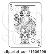 Clipart Of A Black And White Queen Of Diamonds Playing Card Royalty Free Vector Illustration by AtStockIllustration