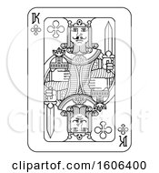 Clipart Of A Black And White King Of Clubs Playing Card Royalty Free Vector Illustration by AtStockIllustration