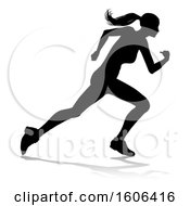 Poster, Art Print Of Silhouetted Female Runner With A Reflection Or Shadow On A White Background
