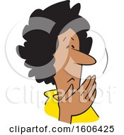 Clipart Of A Cartoon Worried Middle Aged Black Woman Covering Her Mouth Oh My Royalty Free Vector Illustration