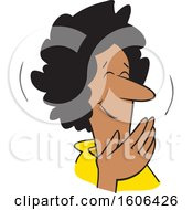 Cartoon Middle Aged Black Woman Covering Her Mouth And Laughing