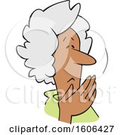 Clipart Of A Cartoon Worried Senior Black Woman Covering Her Mouth Oh My Royalty Free Vector Illustration