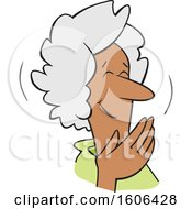 Cartoon Senior Black Woman Covering Her Mouth And Laughing