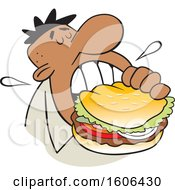 Clipart Of A Cartoon Black Man Taking A Bite Of A Big Burger Royalty Free Vector Illustration