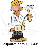 Clipart Of A Cartoon Black Male Carpenter Holding A Hammer Royalty Free Vector Illustration by Johnny Sajem