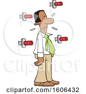 Clipart Of A Day In The Life Of A Man Showing A Cartoon Black Guy Surrounded By Knives In The Wall Royalty Free Vector Illustration