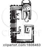 Clipart Of A Dragon Fafnir Black And White Woodcut Royalty Free Vector Illustration