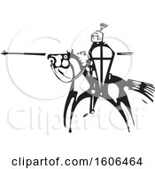 Horseback Knight Holding A Shield And Spear Black And White Woodcut