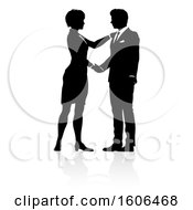Clipart Of A Black And White Silhouetted Business Man And Woman Shaking Hands With A Reflection Or Shadow Royalty Free Vector Illustration