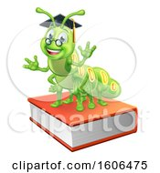 Clipart Of A Happy Green Caterpillar Professor On Books Royalty Free Vector Illustration by AtStockIllustration