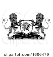 Black And White Heraldic Lions Coat Of Arms Crest