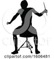 Clipart Of A Silhouetted Female Drummer Royalty Free Vector Illustration