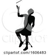 Clipart Of A Silhouetted Male Drummer Royalty Free Vector Illustration