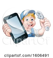 White Male Mechanic Holding A Wrench And Smart Phone Over A Sign