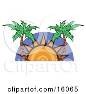 The Sun Setting Between Two Palm Trees Clipart Illustration by Andy Nortnik