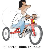 Cartoon Sad Black Business Man Riding A Tricycle To Save Gas Money