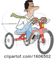 Cartoon Happy Black Business Man Riding A Tricycle To Save Gas Money