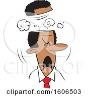 Clipart Of A Cartoon Black Business Man Blowing His Top Royalty Free Vector Illustration by Johnny Sajem