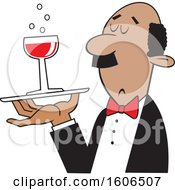 Clipart Of A Cartoon Black Man Serving A Glass Of Red Wine Royalty Free Vector Illustration