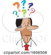 Clipart Of A Cartoon Black Business Man With Questions Royalty Free Vector Illustration by Johnny Sajem