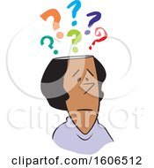 Clipart Of A Cartoon Black Woman With Questions Royalty Free Vector Illustration