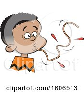 Cartoon Black Boy Sucking Up A Messy Spaghetti Noodle How Not To Eat Spaghetti