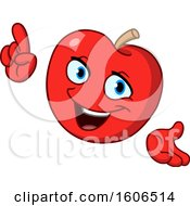 Clipart Of A Cartoon Red Apple Mascot Holding Up A Finger Royalty Free Vector Illustration