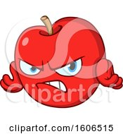 Clipart Of A Cartoon Angry Red Apple Mascot Royalty Free Vector Illustration