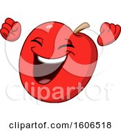 Clipart Of A Cartoon Cheering Red Apple Mascot Royalty Free Vector Illustration