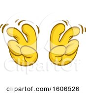 Clipart Of A Cartoon Pair Of Yellow Air Quote Emoji Hands Royalty Free Vector Illustration