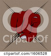 Clipart Of A Red Fisted Hand Pointing Outwards At You Over Brown With A Tribal X Royalty Free Vector Illustration