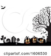 Halloween Background With Jackolantern Pumpkins And Bats In A Cemetery