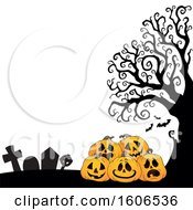 Clipart Of A Halloween Background With Jackolantern Pumpkins In A Cemetery Royalty Free Vector Illustration