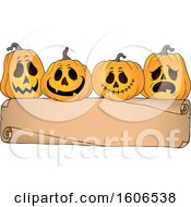 Clipart Of A Blank Banner With Halloween Jackolantern Pumpkins Royalty Free Vector Illustration