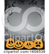 Clipart Of A Halloween Background With Jackolantern Pumpkins On Gray Royalty Free Vector Illustration