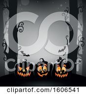 Clipart Of A Halloween Forest And Jackolantern Pumpkin Background With Bats On Gray Royalty Free Vector Illustration